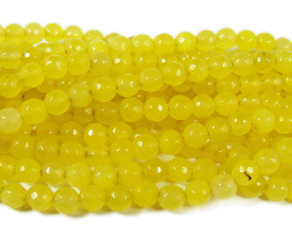 6mm Pale Yellow Jade Faceted Round Beads