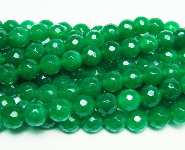 8mm Forest green jade faceted round beads