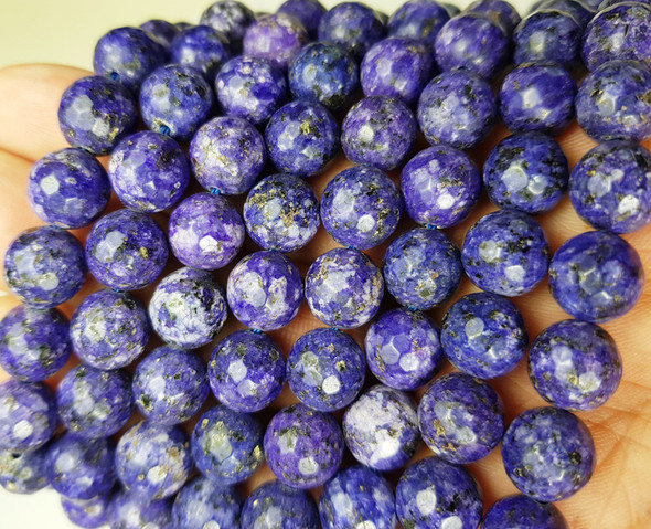 10mm Dark purple jade faceted round beads