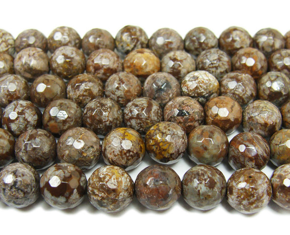 Chocolate jasper faceted round beads