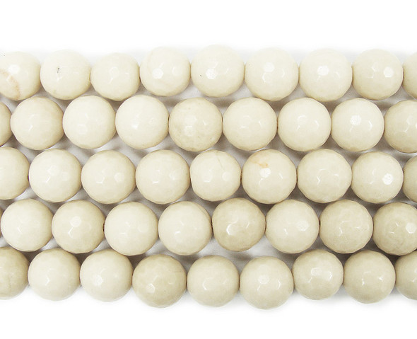 12mm White petrified wood agate faceted round beads
