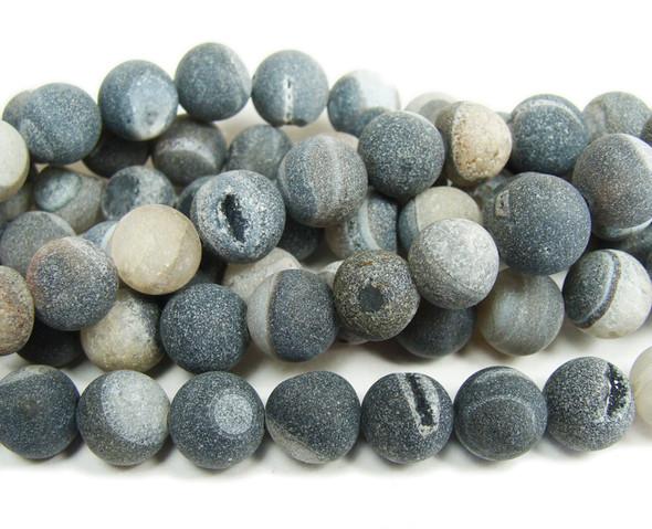 10mm 15 Inch Dark Gray Matte Druzy Agate Round Beads