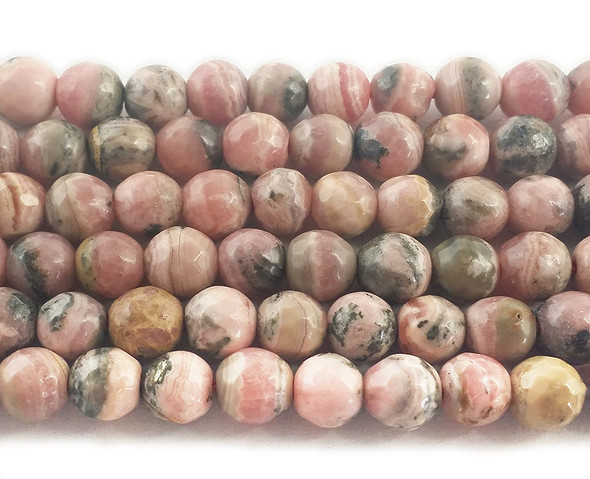 6mm  16 inches Argentina rhodochrosite faceted round beads