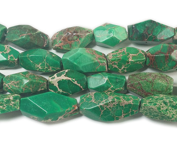 Approx 16x20mm - 18x35mm Green Imperial Jasper Large Faceted Nugget Beads