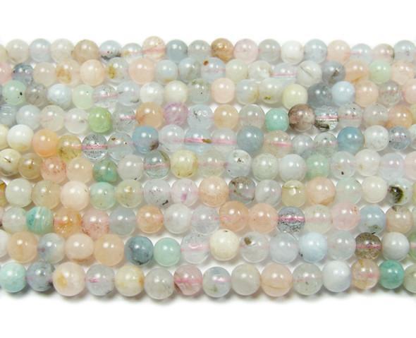 4mm Beryl Morganite Multi Stone Round Beads