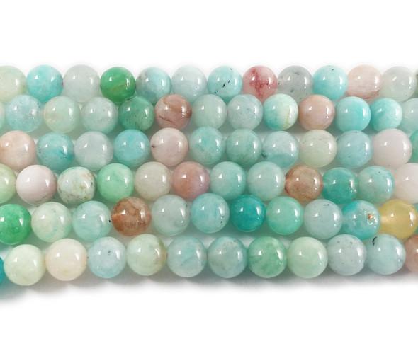 8mm Blue Beryl Morganite Multi Stone Round Beads