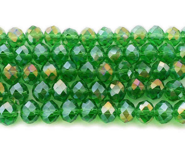 8x10mm 72 Beads Sparkling Green Glass Faceted Rondelles With Ab