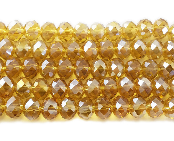 8x10mm 72 Beads Honey Yellow Glass Faceted Rondelles With Ab