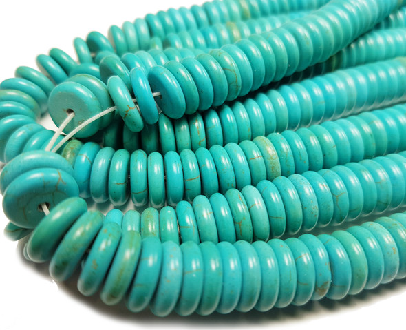 3x12mm About 120 Beads Turquoise/Howlite Rondelle Beads