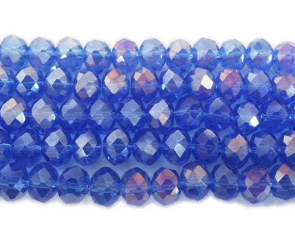 8x10mm 72 Beads Sapphire Blue Glass Faceted Rondelles With Ab