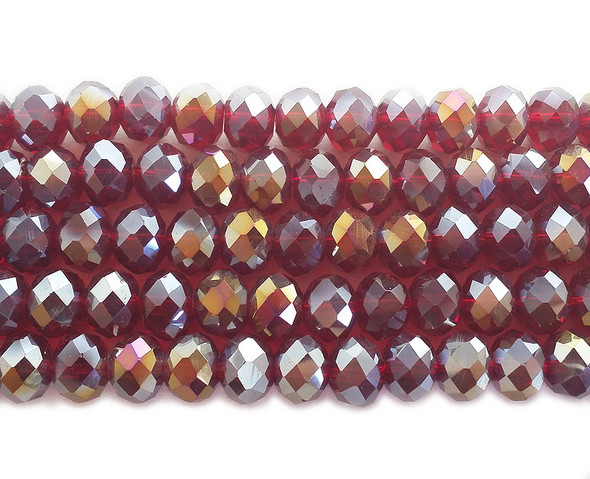 8x10mm 72 Beads Clear Red Glass Faceted Rondelles With Ab