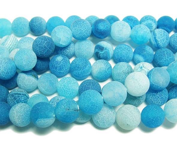 8mm 14 Inches Sea Blue Matte Agate Round Beads