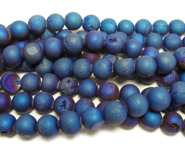 12mm Dark blue electroplated druzy agate round beads