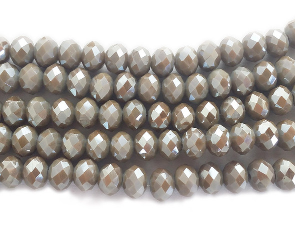 """6x8mm 72 Beads 17.5"""" Silvery Brown Glass Faceted Rondelle Beads"""