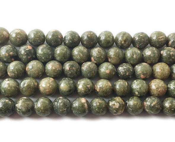 8mm  15.5 inches Green unakite round beads