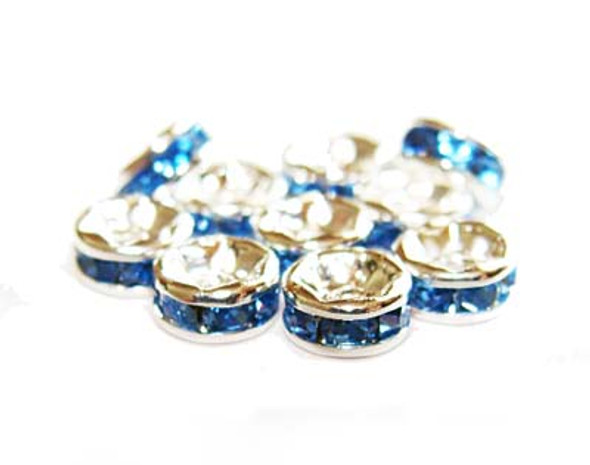 "8mm  pack of 50 Light blue Cubic Zirconia ""CZ"" spacer beads"