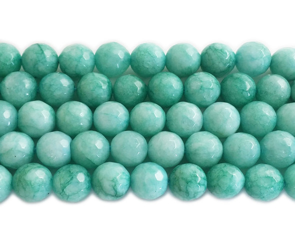 8mm Dark mint green jade faceted round beads