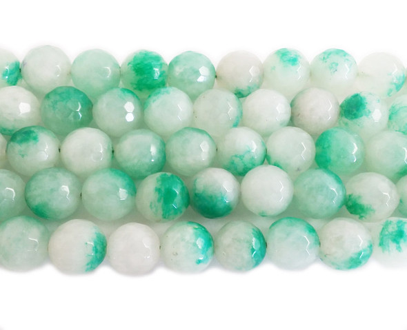 12mm Green and white jade faceted round beads
