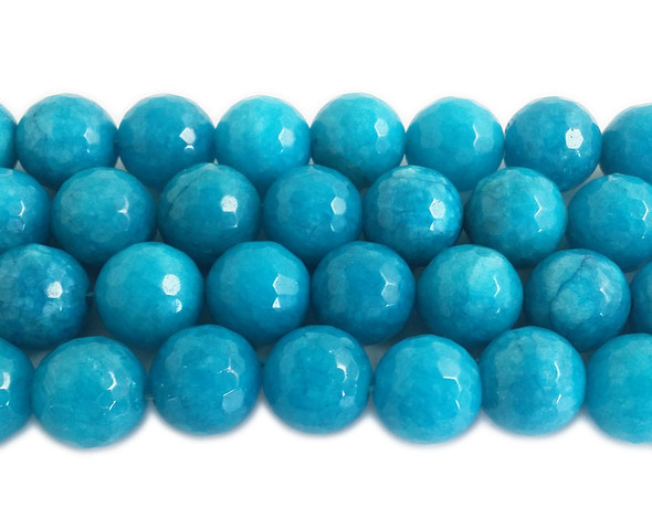 13-14mm Azure blue jade faceted round beads