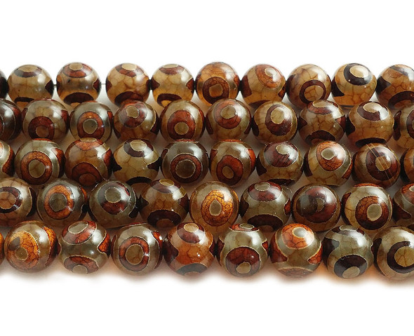8mm Tibetan Style Smooth Agate Brown Third Eye Beads