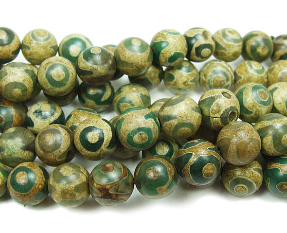 10mm Tibetan Style Agate Green Third Eye Beads