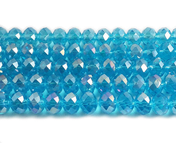 8x10mm 56 Beads Light Sky Blue Glass Faceted Rondelles With Ab