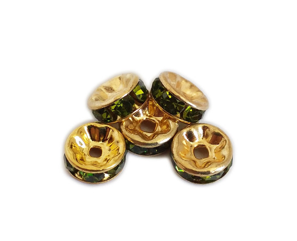 4x8mm  pack of 50  peridot green CZ gold plated brass spacer beads