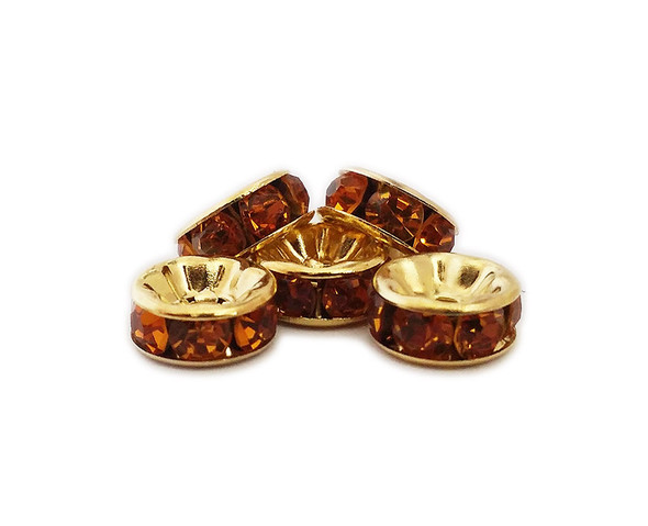 4x8mm  pack of 50  amber yellow CZ gold plated brass spacer beads