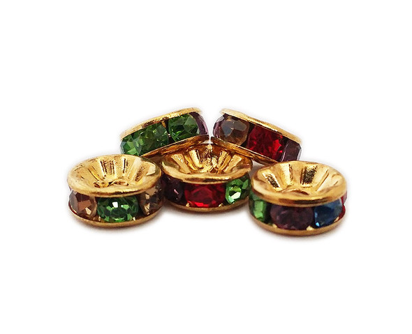4x8mm  pack of 50  multicolor CZ gold plated brass spacer beads