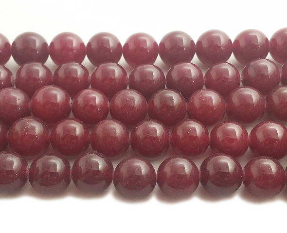 12mm Deep ruby red jade round beads
