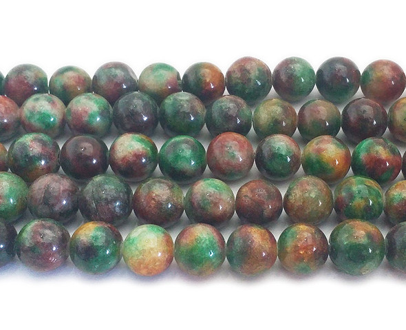 12mm Multi color fruity green jade round beads