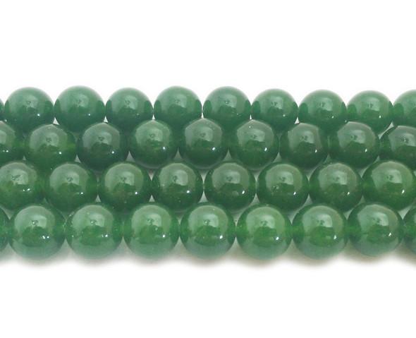 14mm Dark green jade round beads