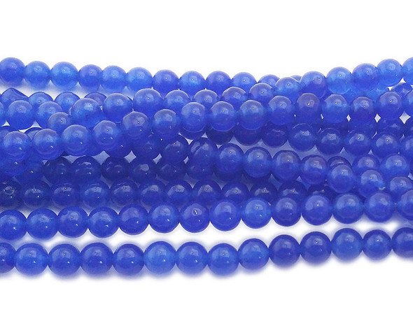 4mm Blue Jade Round Beads