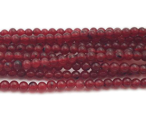 4mm Deep ruby red jade round beads