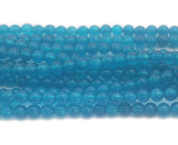 4mm Sea blue jade round beads