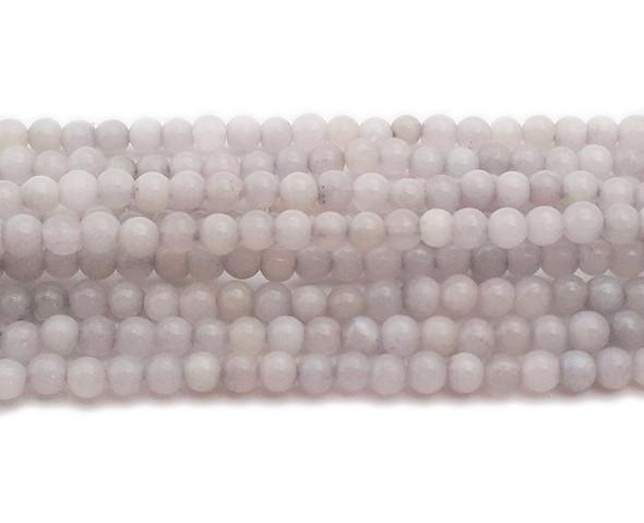 4mm Pale Gray Jade Round Beads