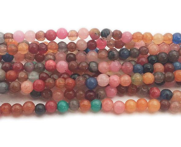 4mm Multicolor Jade Round Beads