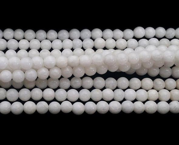 4mm Snow White Jade Round Beads