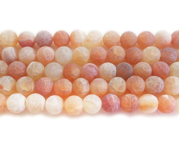 10mm  14 inches Light orange matte agate round beads