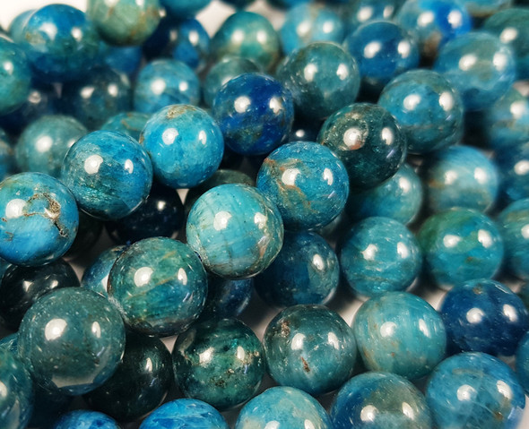 6mm Natural Blue Apatite Smooth Round Beads
