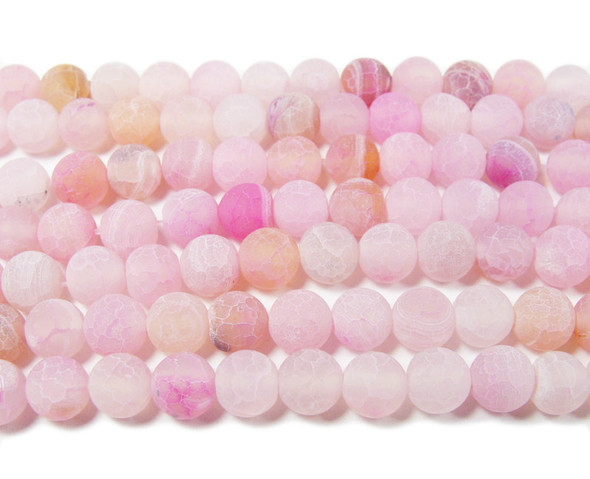 6mm 14 Inches Light Pink Matte Agate Round Beads