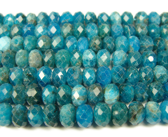 5x8mm  Natural blue apatite faceted rondelle beads