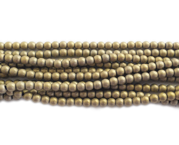 4mm Light gold hematite matte round beads
