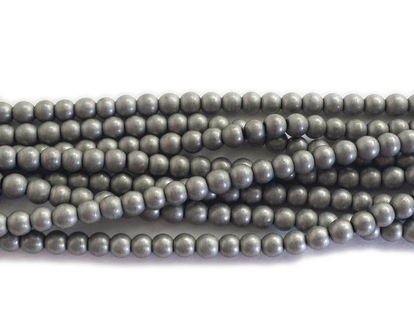4mm Gray Iron Hematite Matte Round Beads