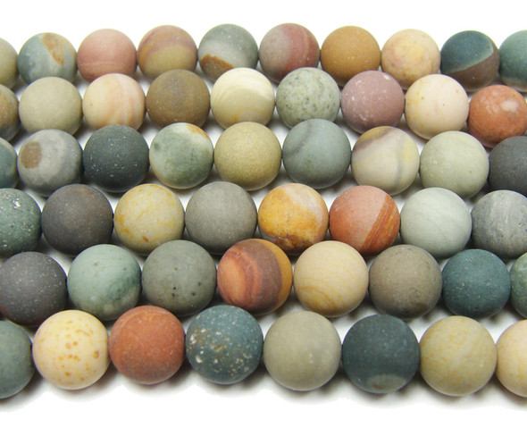8mm  16 inches Landscape jasper matte round beads
