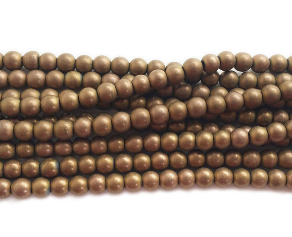 4mm Bronze brown hematite matte round beads