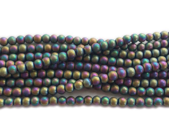 4mm Rainbow hematite matte round beads