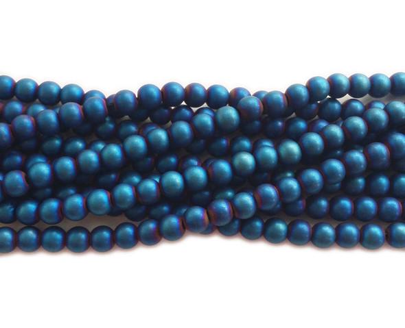 4mm Blue hematite matte round beads