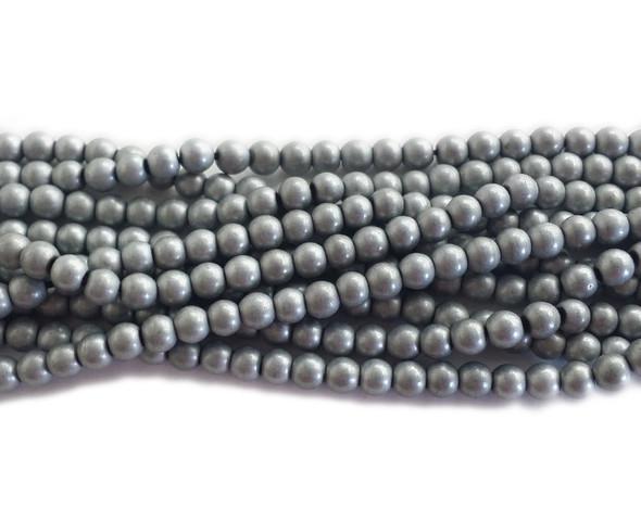 4mm Silver hematite matte round beads