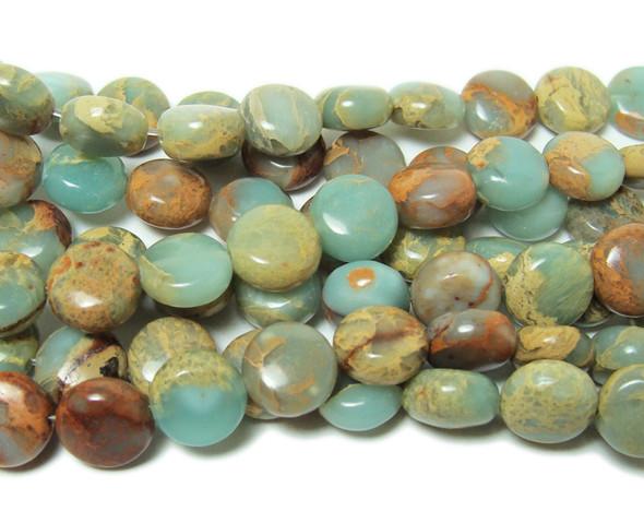 8mm Snake skin jasper smooth coin beads